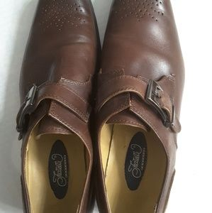Fratelli Monk Buckle Leather Dress Shoes Brown